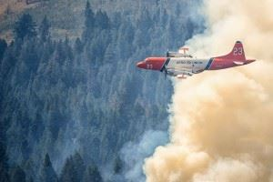 Airplane Spraying a Wildfire